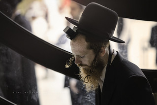 Jewish man praying in the covered part of the Western Wall. Jerusalem.