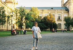 Kindness in your eyes (Graphic designer | Film lover) Tags: kiev film city summer june kodak color colorplus iso200 200 35mm 35mmfilm ukraine kyiv travel people selfie sunny warm megapolis car road building architecture park trees girl pretty