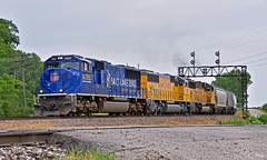 """Southbound Manifest in Birmingham, MO (""""Righteous"""" Grant G.) Tags: up union pacific railroad railway locomotive emd power cp canadian freight manifest train trains kansas city missouri diamond ns 2002 winter olympic games"""