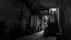 Who are you? (S. Ken) Tags: vietnam hochiminhcity hcmc saigon ベトナム サイゴン fe2470mmf28gm sel2470gm a7riii a7r3 7rm3 sony e ソニー gmaster alley street stairs woman blackandwhite monochrome