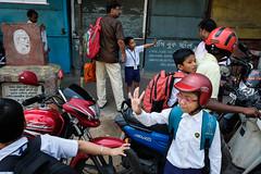 Good bye (SaumalyaGhosh.com) Tags: bye kids school people kolkata india street streetphotography bike color
