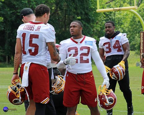 Redskins Rookie WR Simmie Cobbs Jr. (15) and Rookie RB Martez Carter (22) talk.