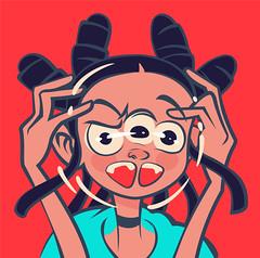 hysterics (Monich Alexander) Tags: hysterics dramatics monich alexander minsk illustration illustrator монич александр минск girl anime kawaii kawaī nyā nya manga doodle double triple funny fun vector coreldraw horns comics horn kid psycho crazy loony kook nutter