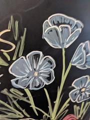Blackboard Flowers (earthdog) Tags: 2018 googlepixel pixel androidapp moblog cameraphone starbucks cafe coffeehouse plant flower drawing chalk chalkboard blackboard