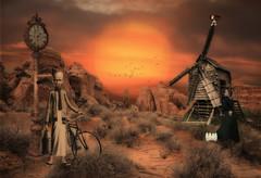 The Milkman (brian_stoddart) Tags: surreal odd strange weird windmill clock desert rocks grasses bicycle sunrise sun colour