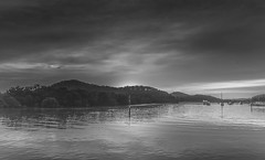 Sunrise and Atmosphere - Waterscape on the Bay (Merrillie) Tags: daybreak woywoy landscape nature australia foreshore newsouthwales earlymorning nsw brisbanewater morning dawn coastal water sky waterscape sunrise centralcoast bay outdoors blackandwhite monochrome