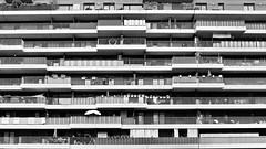 balcony garden (heinzkren) Tags: schwarzweis blackandwhite bw sw monochrome ricoh wien vienna building gebäude wohnhaus balkon fassade innenhof facade architecture architektur wohnbau urban geometry symmetry city structure grid railing gitter geländer