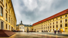 Tourists in the palace courtyard (Chas56) Tags: palace prague castle praguecastle czechrepublic canon canon7d tourists travel courtyard