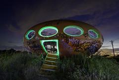 Futuro In Green (jdnelms62) Tags: futuro lightpainting sunset sundown nightphotography texas