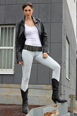 Natalie 93 (The Booted Cat) Tags: sexy brunette hair teen girl model tight jeans denim leather jacket belt boots cowboyboots