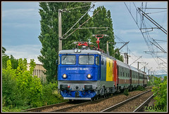 91-53-0-41-0431-7 (Zoly060-DA) Tags: romania cluj napoca cfr calatori passenger service train 41 0431 7 blue yellow red white green grey sky tree repaired scrl brasov suceava depot electric locomotive co 5100 kw electroputere craiova asea sweden license rail rails lines railway pantograph 1833 fast