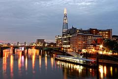 As Day Breaks (Geoff Henson) Tags: night dawn london shard river water lights reflection sky buildings starburst tower skyscraper