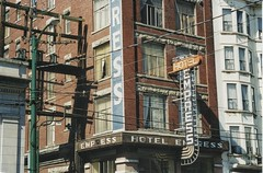 Vancouver British Columbia - Canada - Empress Hotel  - Vintage Photo 1990 (Onasill ~ Bill Badzo) Tags: empress hotel vintage neon old sign entrance vancouver bc british columbia hastings street travel chinatown scene downtown ipad creative photography processing apps applications photoforge ps express imac apple retouch photofixer filterstorm pixelmagic ezimba fx ultra ephotopad computer onasill toutist area east