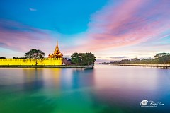 Sunset in Mandalay Wall royal palace (Bobby Tran 2012) Tags: sunset mandalay myanmar wall skyline trees color travel tourist famous favorites