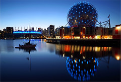 symphony in blue (leuntje) Tags: vancouver britishcolumbia canada falsecreek scienceworld bcplacestadium bluehour architecture buckminster