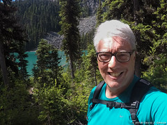 Smiles Hiking Joffre Lakes (David J. Greer) Tags: joffre lake provincial park british columbia hike hiking lakes mountains trail selfie david greer glasses blue shirt grey hair guy male man trees