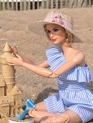 On vacation having fun in the sun. (JunqueDollBoutique) Tags: delaware bethanybeach onesixthscale barbie strawhat sand playscale gracekellydoll ocean sea sun vacation beach sandcastle