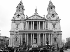 Quintessential London (Mark.W.E) Tags: canon canong10 city england g10 gb greatbritian london rain street tourism tourist travel uk urban cathedral stpaulscathedral bw blackwhite church christian christianity