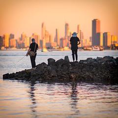 Fishermen at a Surfers Sunset (claustral) Tags: 2018 australia goldcoast qld runawaybay coast sunset people fishing fishermen two water sillhouette i500 interestingness20180620 explore64