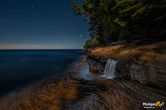 Elliot Falls in the moonlight (Michigan Nut) Tags: beach elliotfalls lakesuperior minersbeach munising picturedrocksnationallakeshore upperpeninsula waterfall nightscape longexposure nikond850 nightphotography