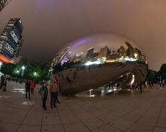 CloudGate_114972 (gpferd) Tags: bean building chicago cloudgate construction fisheye landmark lights litlights night people reflection illinois unitedstates us