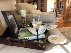Summer Afternoons (Jill Clardy) Tags: tray room living ottoman afternoon relaxing reading book chair club plate cheese glass wine hour happy summer 365the2018edition 3652018 day186365 05jul18