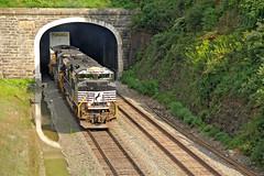 Reflection (craigsanders429) Tags: norfolksoutherntrains stacktrains nsstacktrains railroadtunnels railroadtracks nspittsburghline nslocomotives nsmotivepower pennsylvania gallitzinpennsylvania
