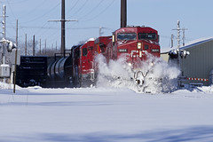 CP 9664 - CP 470 - Owatonna, MN (rathman11) Tags: train railroad locomotive ge geac44cw ac44cw gp20ceco cp cp9664 snow driftbusting canadianpacificrailway manifest mixedfreight wasecasubdivision owatonnamn