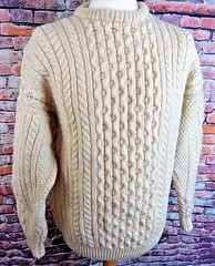 Aran fisherman wool sweater (Mytwist) Tags: donegal ireland fisherman timeless classic vintage cream ivory mytwist itchie cabled chunky dublin passion style fashion unisex weddinggift love weekend casual knitted wool viking traditional irish jumper m medium chest cable knit pure