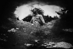 you can find beauty in all of the places! (privizzinis passion photography) Tags: tree water portrait monochrome blackandwhite child children childhood outdoors outdoor people freelensing freelensed reflection puddle girl movement hair