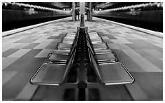 Take a seat [Explored 2018-06-29] (T.Seifer : )) Tags: architecture blackandwhite blackwhite monochrome metro station subway underground fx modern lines light indoors tourism symmetry hamburg nikon whiteandblack whiteblack