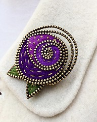 Mackintosh inspired brooch (woolly  fabulous) Tags: rose mackintosh accessories pin zipper woollyfabulous goldthread embroidered purple brooch