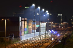 All Eyes On You (Robin Shepperson) Tags: night industry lights tracks trains station haulage blue orange green red berlin germany d3400 nikon transportation merchant light trade commerce tamron 70300mm