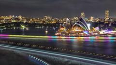 Vivid Sydney 2018 -  Light, Music & Ideas Festival (2) (geemuses) Tags: sydney vividsydney2018 light music ideasfestival sydneyoperahouse colour timelapsephotography sydneyharbourbridge sydneyharbour water extendedexposure projections nightphotography sky contrast