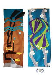 plongeur et raies (anh gloux) Tags: tifaifai textile tissus motifmarin plongeur raie