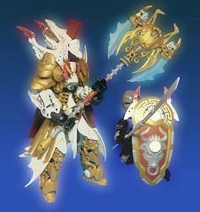 Pridak: Paragon (Poor Disadvantaged) Tags: bionicle lego pridak contest gold white axe shield coat helmet