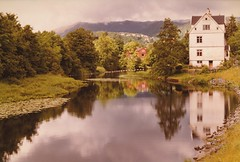 Norway 1984 (Meredith Jacobson Marciano) Tags: landscape norway pastoral filmshot lake sky water serene reflection mountain