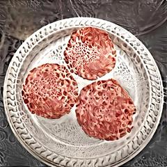 Red Round Trio (boeckli) Tags: ddg deepdreamgenerator red circle round rund plate teller textures texturen texture textur redroundtrio smileonsaturday food lebensmittel salami mettwurst