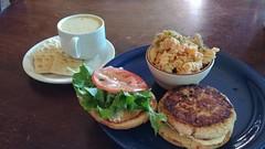 Halibut Burger & Smoked Salmon Pasta Salad (jimmywayne) Tags: rendezvous bar kodiak alaska kodiakislandborough food smokedsalmon pastasalad halibut burger