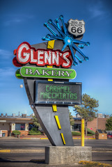 Glenn's Bakery (donnieking1811) Tags: newmexico gallup glennsbakery sign largesign route66 rte66 outdoors highway sky blue neon hdr canon 60d lightroom photomatixpro
