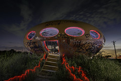 Futuro In Red (jdnelms62) Tags: futuro lightpainting sunset sundown nightphotography texas