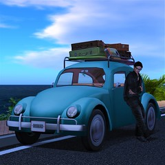 Chance Encounters Are What Keep Us Going (Loegan Magic) Tags: secondlife pointbrasil volkswagen vw bug surfboard ocean road travel male model pose harukimurakami car auto automobile