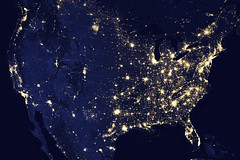 Amazing image of the United States of America at night. Original from NASA. Digitally enhanced by rawpixel.