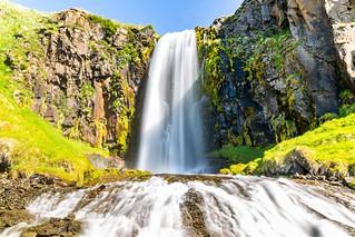 Waterfall (Miðvíkurfoss) in Eyjafjordur