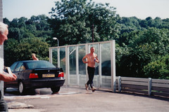 Flashbacks to 1997: They like their job a lot (Can Pac Swire) Tags: uk great britain british unitedkingdom wales welsh cardiff shirtless man guy bloke gas station petrol attendant car wash 1997img0076 368 newportroad cf23