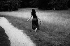 Via (Nathalie_Désirée) Tags: lawn meadow run highheels girl running canoneos600d canon35mm longdress barefeet blackandwhite bw mono monochrome ndm