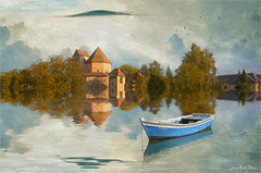 The cloud (Jean-Michel Priaux) Tags: paysage landscape church abbey abbaye mirror boat photoshop paint painting mattepainting paintingmatte blue surreal unreal unautremonde anotherworld priaux