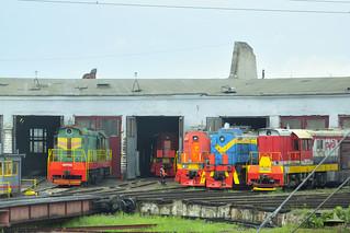 Locomotives on turntable