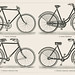 Fahrrader 1 (1894) from the German series, Meyers Konversations Lexikon, a black and white lithograph of different types of bicycles. Digitally enhanced from our own original antique plate.