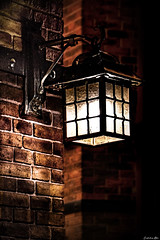 Just Around The Corner... (Constantinos_A) Tags: sony alpha a6300 athens pagrati bricks lamp light handheld night dark wall